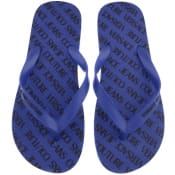 Product Image for Versace Jeans Couture Logo Flip Flops Blue